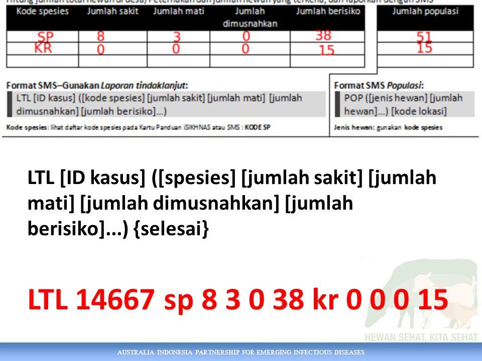 LTL [ID kasus] ([spesies] [jumlah sakit] [jumlah mati] [jumlah dimusnahkan] [jumlah berisiko]...) {selesai}